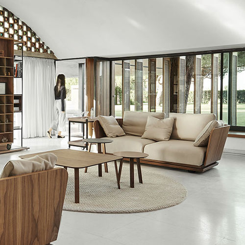 contemporary sofa / fabric / oak / walnut