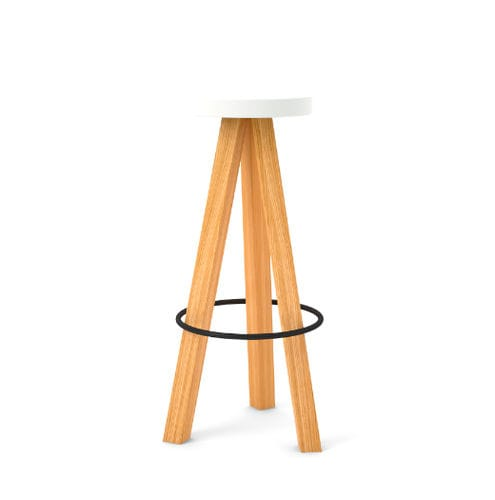 Scandinavian design stool / oak / solid wood / MDF FLAK : FLK102 by Nathan Yong punt mobles
