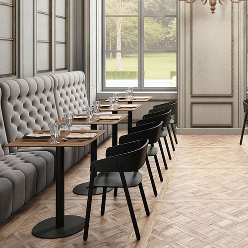 contemporary bistro table / walnut / MDF / wood veneer
