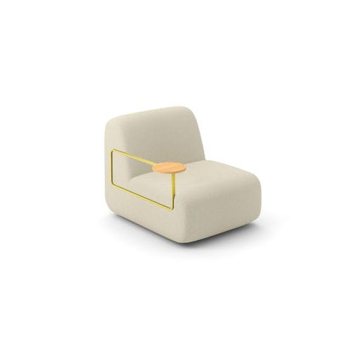 contemporary fireside chair / fabric / wooden