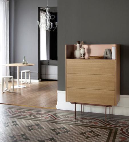 high sideboard / contemporary / oak / walnut