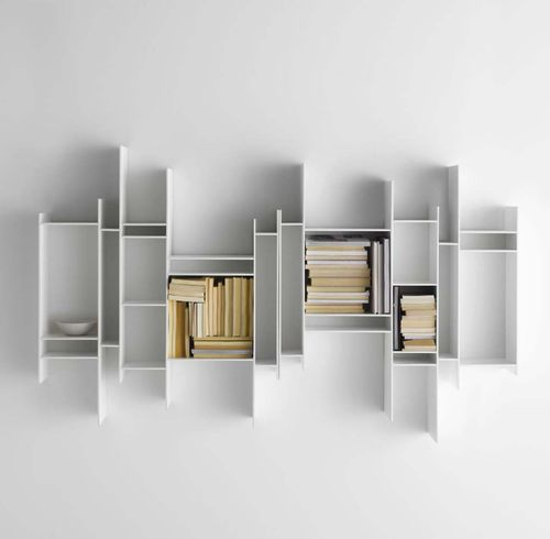 Wall-mounted bookcase / contemporary / melamine / MDF RANDOMITO by Neuland Industriedesign MDF Italia