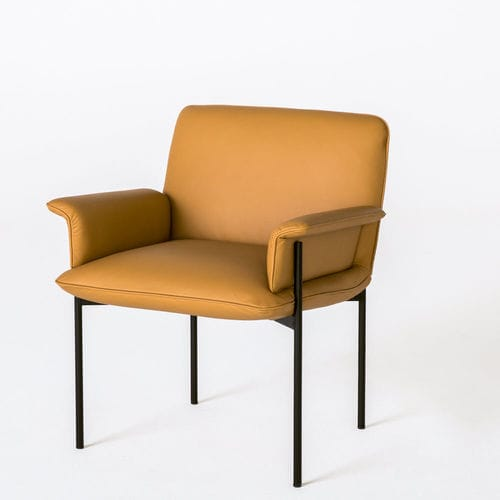 contemporary visitor chair / with armrests / upholstered / leather