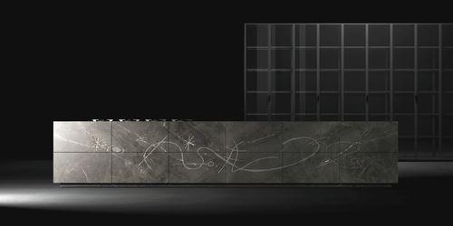 contemporary kitchen / natural stone / island / handleless