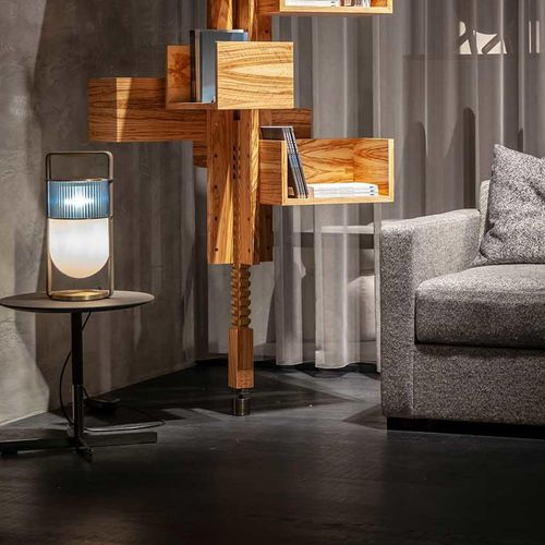 table lamp / contemporary / blown glass / leather