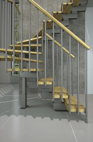 Half-turn staircase / quarter-turn / wooden steps / metal frame TECH L/U 75-85-95 Misterstep