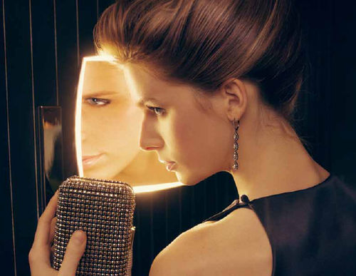 wall-mounted bathroom mirror / LED-illuminated / magnifying / contemporary
