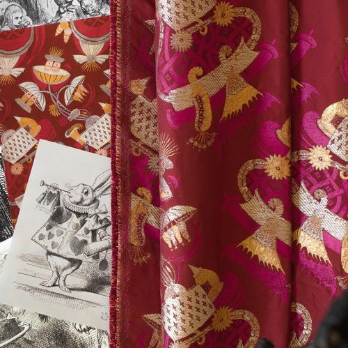 curtain fabric / patterned / polyester / viscose