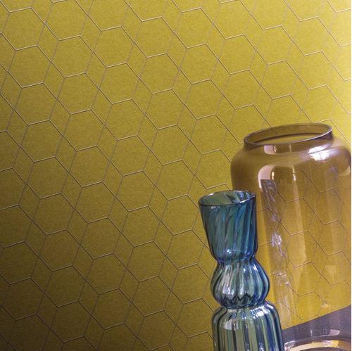 contemporary wallpaper / geometric pattern / iridescent / yellow