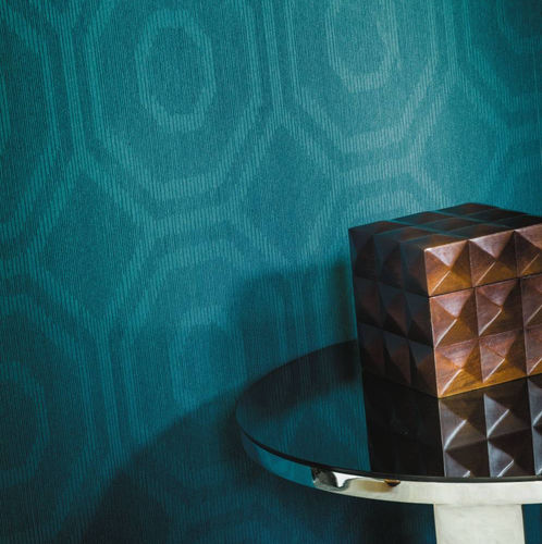 contemporary wallpaper / geometric pattern / blue / brown