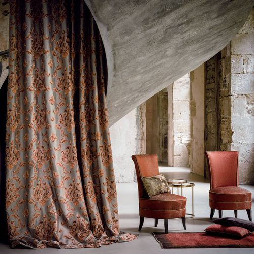 upholstery fabric / for curtains / patterned / viscose
