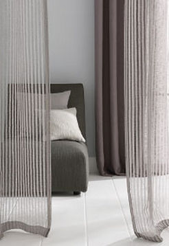Striped sheer curtain fabric / linen LUANA SAHCO