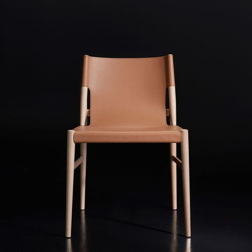 contemporary chair / ergonomic / wooden / leather