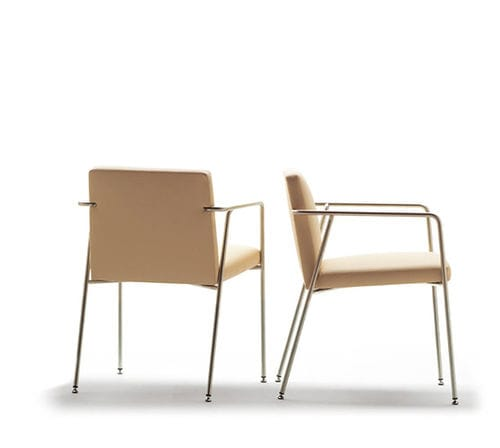 contemporary restaurant chair / upholstered / with armrests / stackable