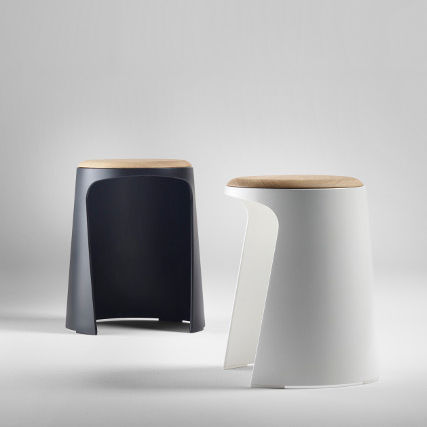 contemporary stool / wooden / polypropylene / commercial