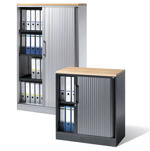low filing cabinet / tall / melamine / tambour door