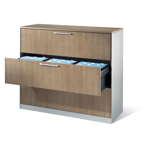 low filing cabinet / wooden / steel / with drawers