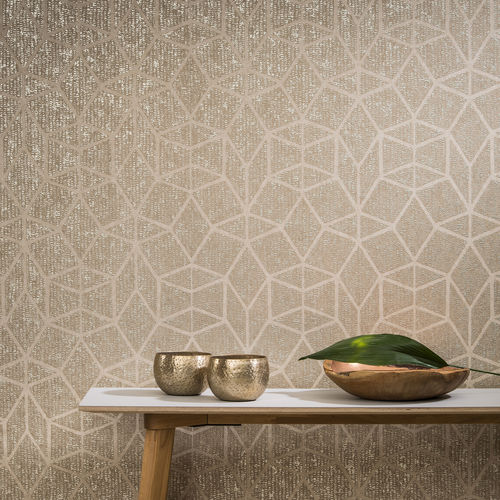 contemporary wallpaper / nonwoven fabric / geometric pattern / gold-colored