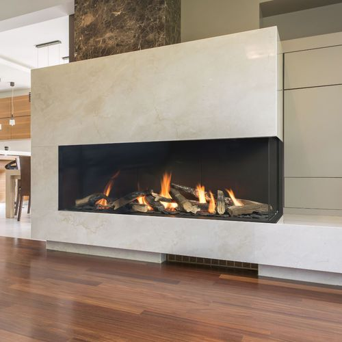gas fireplace / contemporary / closed hearth / corner