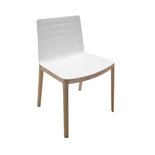 contemporary chair / wooden / white