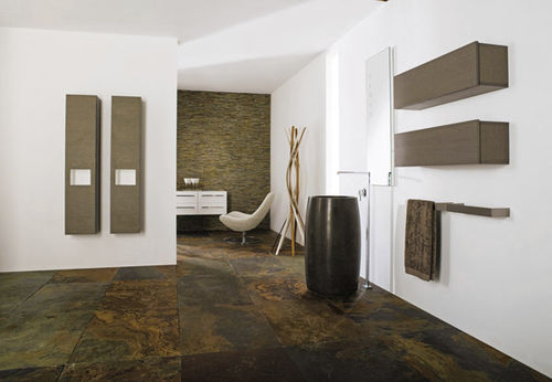 free-standing washbasin / round / natural stone / contemporary