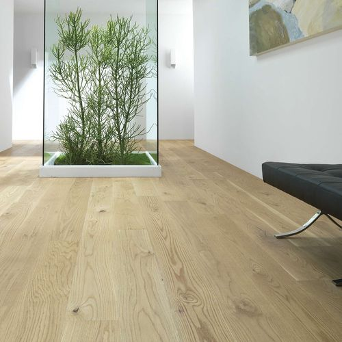engineered parquet floor / glued / oak / varnished