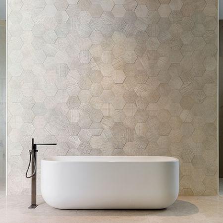indoor tile / wall / limestone / hexagonal