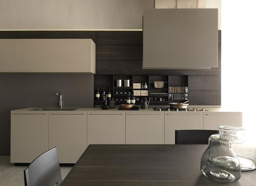 contemporary kitchen / wooden / melamine / lacquered