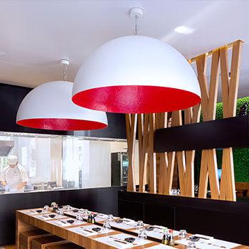 Pendant lamp / contemporary / steel / in Nebulite® LUNA : MEZZA LUNA in-es artdesign