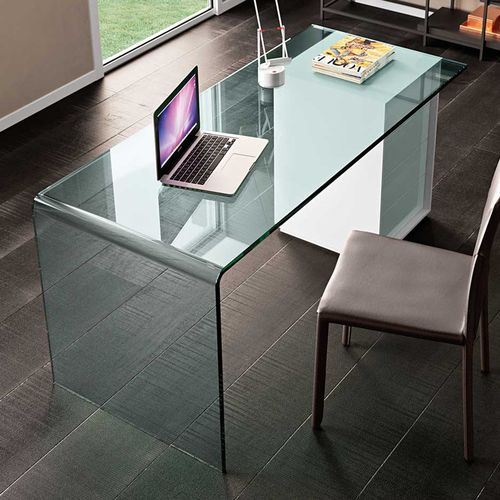 wooden desk / glass / leather / contemporary