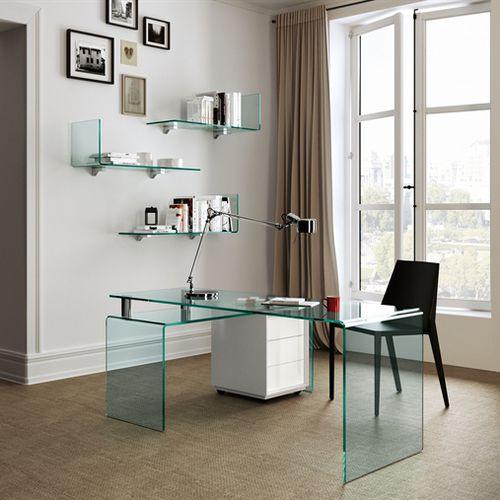 aluminum desk / glass / contemporary / corner