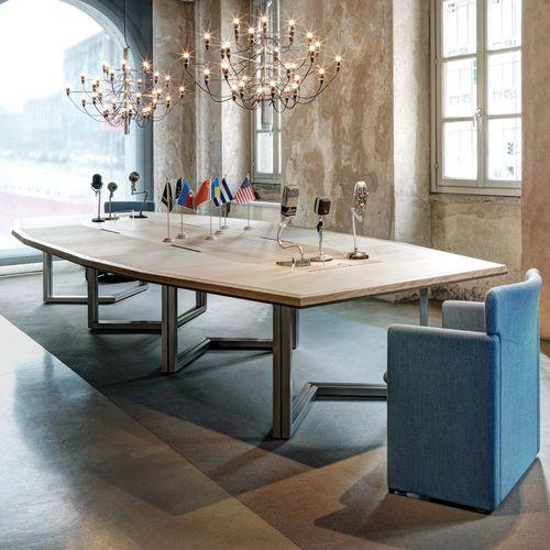 contemporary boardroom table / oak / octagonal