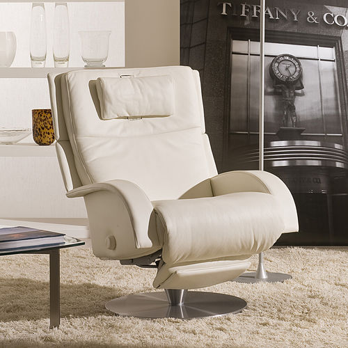 contemporary armchair / teak / fabric / leather