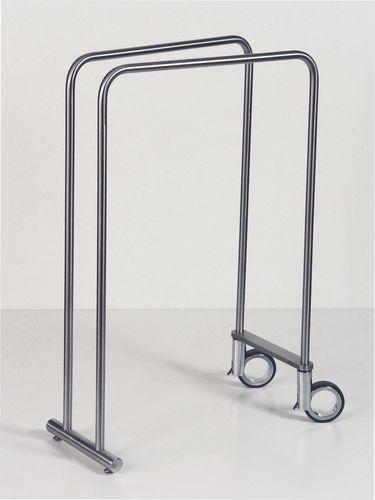 2-bar towel rack / floor-standing / stainless steel