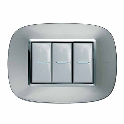 light switch / push-button / triple / stainless steel