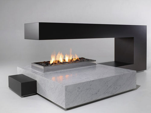 Gas fireplace / contemporary / closed hearth / open hearth dim\'ora