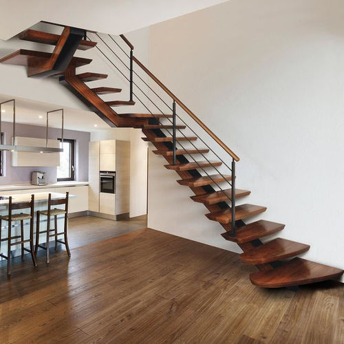 Quarter-turn staircase / half-turn / wooden steps / metal frame I-BEAM Marretti