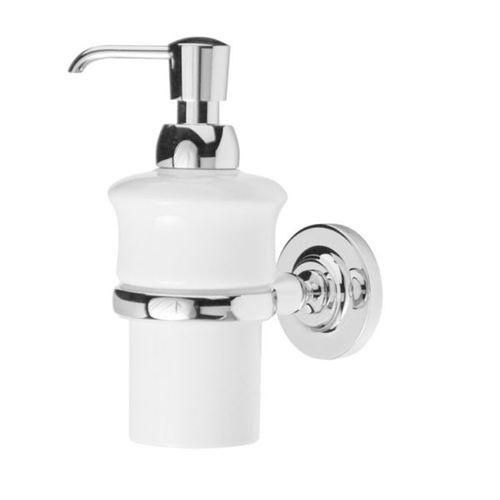 commercial soap dispenser / wall-mounted / chromed metal / porcelain