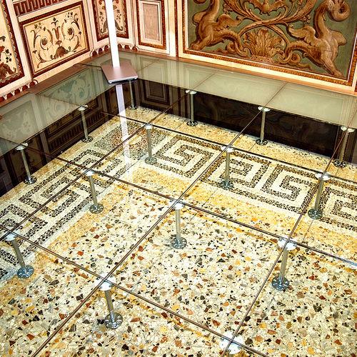 glass raised access floor tile / non-slip / indoor