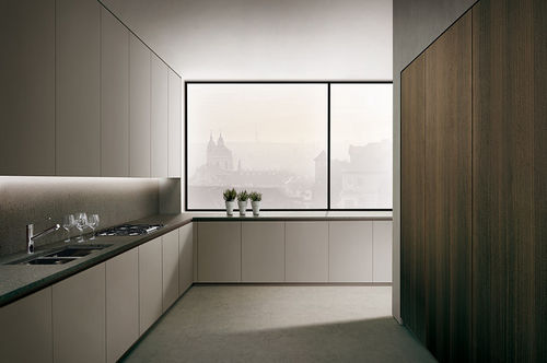 contemporary kitchen / steel / natural stone / lacquered