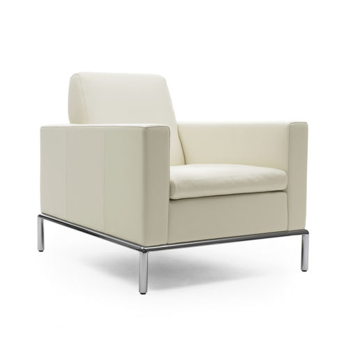 contemporary armchair / leather / steel / black