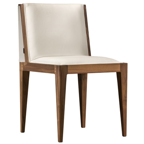 contemporary chair / upholstered / fabric / walnut