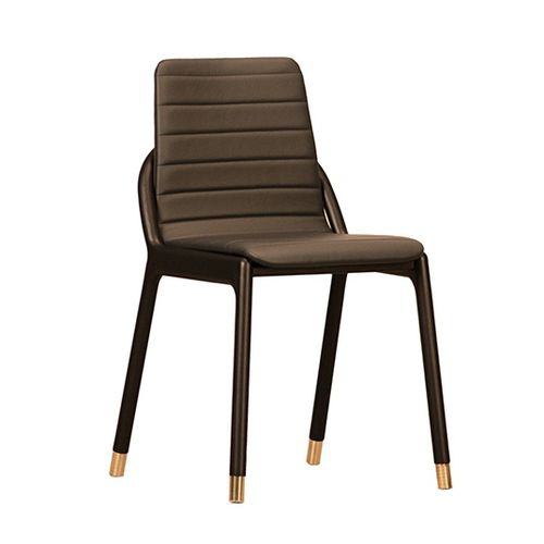 contemporary chair / upholstered / solid wood / ash