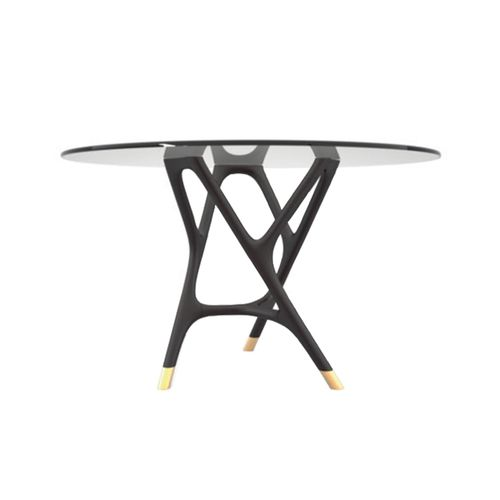 contemporary table / solid wood / ash / glass