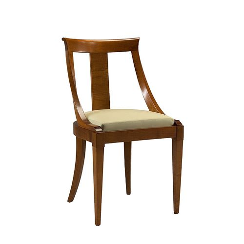 traditional chair / upholstered / cherrywood / leather
