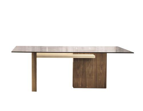 contemporary table / glass / walnut / maple