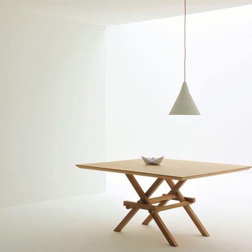contemporary dining table / ash / square