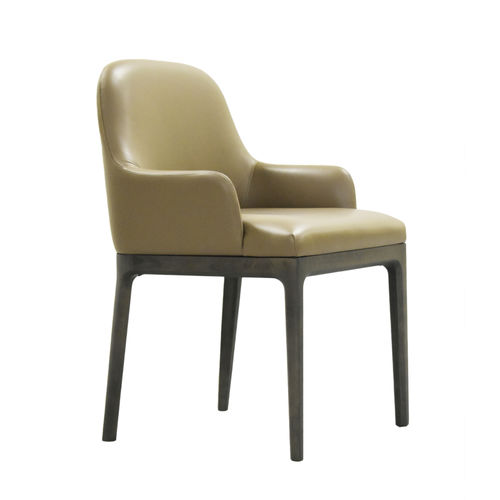 contemporary chair / upholstered / with armrests / ash