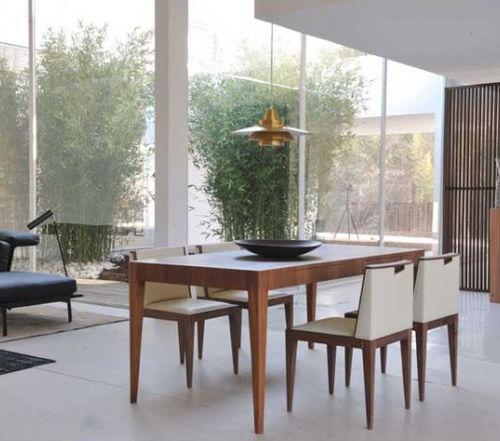 contemporary table / walnut / rectangular / extending