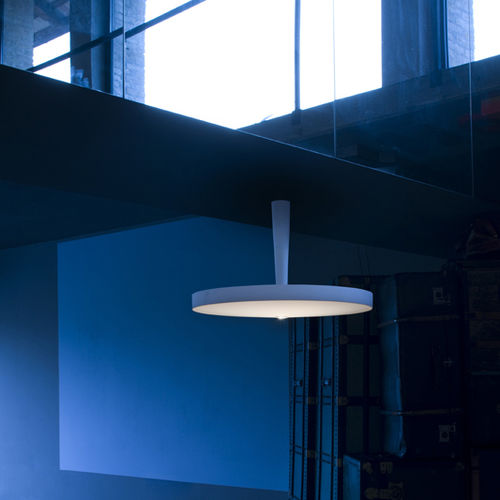 contemporary ceiling light / round / blown glass / painted aluminum